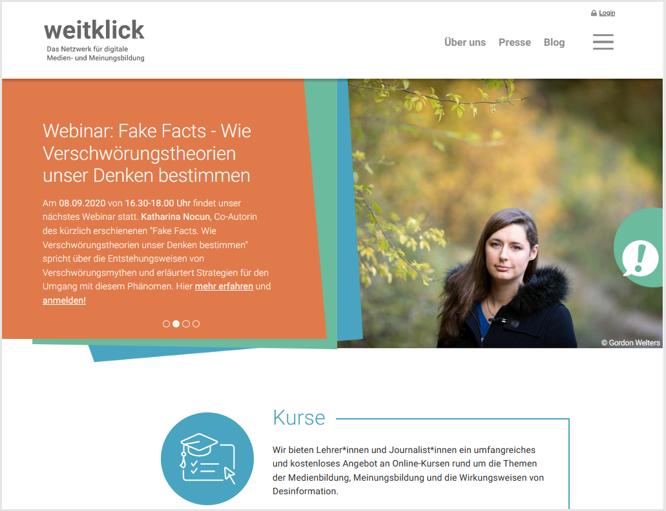 Startseite des Bildungsangebots weitklick.de