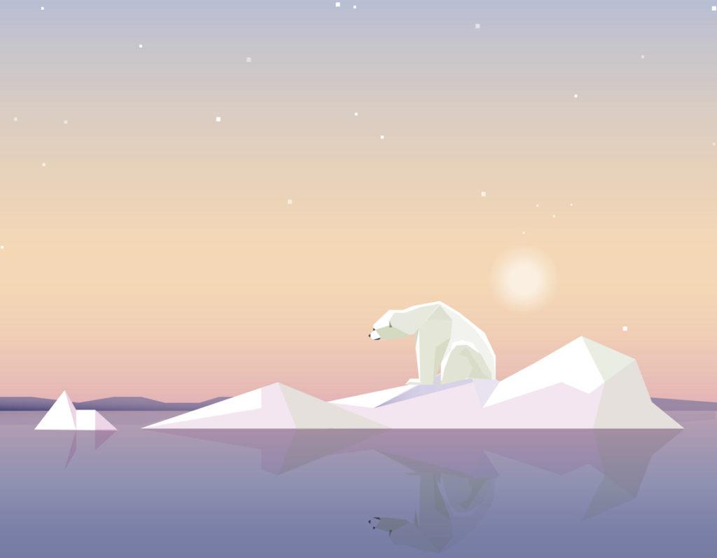 Symbolbild: Polarbär auf einer Eisscholle. Die Sonne scheint und die Scholle schmilzt.